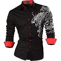 Sportrendy Men Casual Slim Dragon Tattoo Long Sleeve Button Down Dress Shirt JZS041