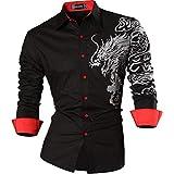 Sportrendy Uomo Camicie Unico Drago Cinese Tatuaggio Moda Tattoo Slim Shirts Men Top JZS041