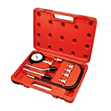 Todeco - Kompressionstester-Set , Kompressionsdruckprüfer - Material: C45 Stahl - Gehäusegröße: 30 x 19,5 x 6 cm - 6 Teile, mit rotem Koffer