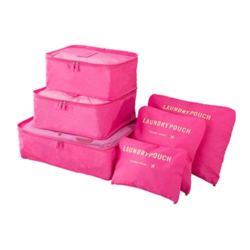 Koffer Organizer Reise Kleidertaschen, EASEHOME 6 Stück Wasserdichte Kofferorganizer Packtaschen Reisegepäck für Kleidung Schuhe Unterwäsche Kosmetik, Rose
