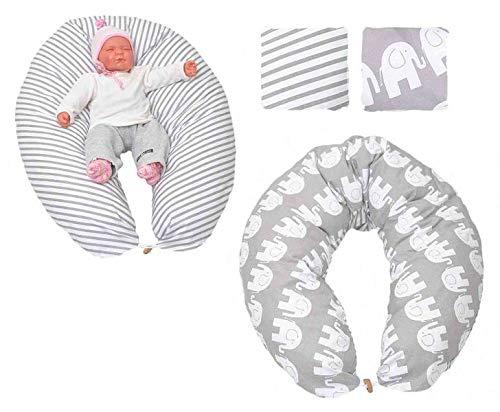 Stillkissen Lagerungskissen Seitenschläferkissen in verschiedenen Farben von HOBEA-Germany, Modell:Elefanten (Gefüllte Weiße Elefant)