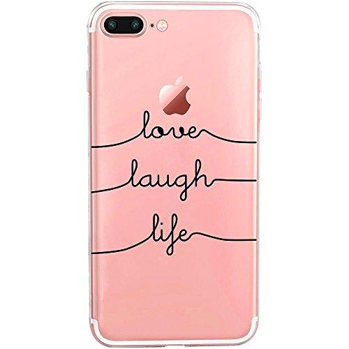 TheSmartGuard Hülle kompatibel für iPhone 8 Plus / 7 Plus   transparente Schutzhülle aus Silikon   Mit coolen Spruch Aufdruck Motiv   Love-Laugh-Life   Farbe: schwarz  