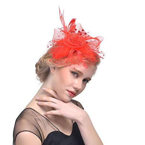 Preisvergleich Produktbild Techting Frauen Mädchen Brauen Feder Ineinander greifen-Netz-Blume Fascinator Hut-Haar-Klipp-Tee-Party-Haar-Greifer Cap