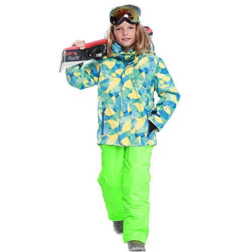 YFCH Mädchen Jungen Skianzug Skijacke Skihose Regenlatzhose Kinder Verdickung Lang Jacket Wintermantel Mantel 122/128
