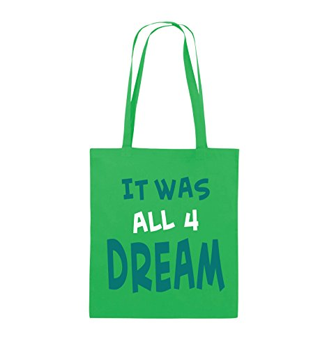 Comedy Bags - It was all four dream - KLEINE ZAHL - Jutebeutel - lange Henkel - 38x42cm - Farbe: Schwarz / Weiss-Neongrün Grün / Türkis-Weiss