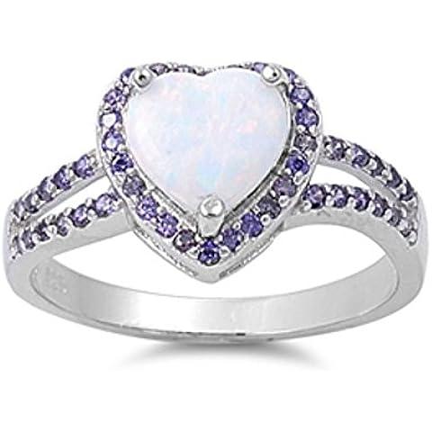 Sterling Silver cuore Lab a forma di opale gemma Anello