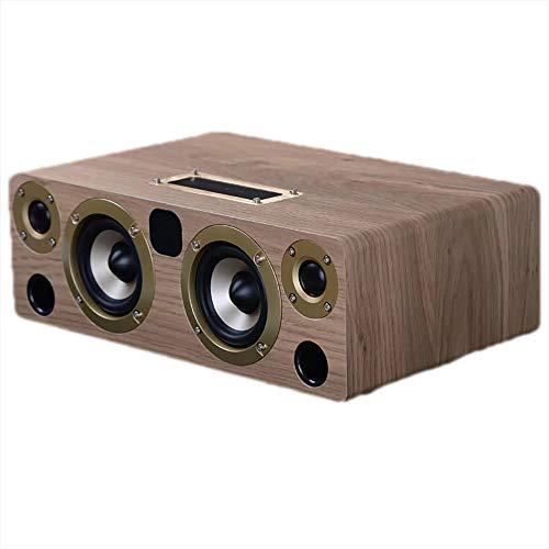 Bluetooth-Lautsprecher, Holz Tragbare 4 Lautsprecher, Bluetooth 4.1 Wireless-Lautsprecher mit 60W HD-Sound und satten Bass, Integrierter USB, Lautsprechern für Telefon,PC, Funktion Fernbedienung