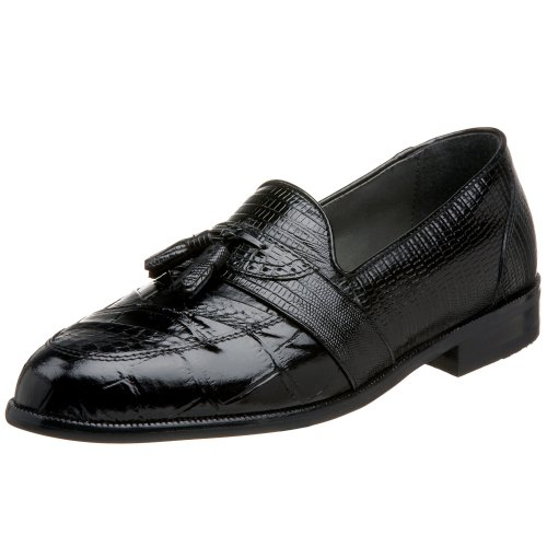 Stacy Adams Santana Rund Schlangenleder Leder Slipper Black