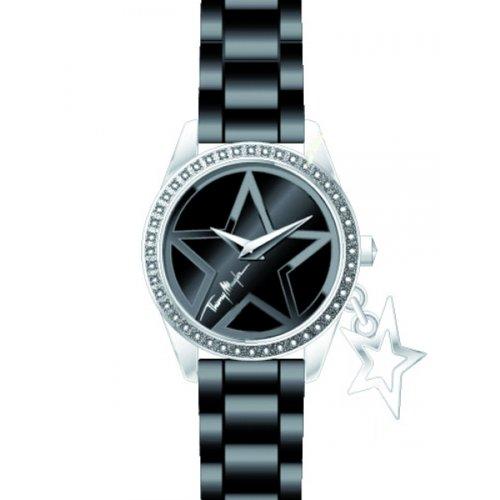 Thierry Mugler - 4708104 - Montre Femme - Quartz Analogique - Cadran Noir - Bracelet Silicone Noir