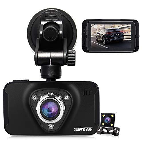 Dual Dashcam Front- und Rückfahrkamera HQBKING 1080P Front-Fahrzeugkamera mit 170 ° Front 4 Fach Zoom G-Sensor Nachtsicht Loop-Aufnahme Parkmonitor 2,7-Zoll-LCD, Unterstützung 64 GB 30fps Echtzeit-dvr