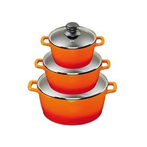 King Aluguss Kochtopfset aus 3 Kochtöpfen mit Deckeln und
