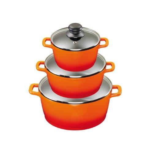 farbige kochtoepfe King T1058 Aluguss Kochtopfset 3/6-teilig, Fusion beschichtet, orange
