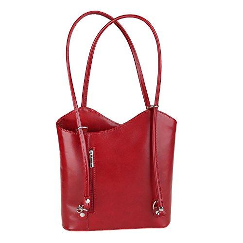 Chicca Borse Shoulder Bag Borsa da Donna a Spalla in Vera Pelle Made in Italy 28x30x9 Cm Rosso