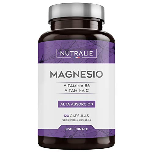 Magnesio con Vitaminas B6 y C | Bisglicinato de Magnesio 100{c2dca02e01a6ccb7ae407c5149783e2493a5093dfdc752470e256a3aa7b4b470} Biodisponible | 120 Cápsulas de 750 mg | Nutralie