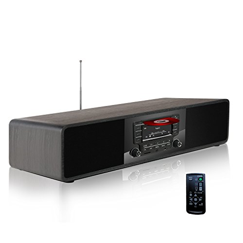 KEiiD CD/MP3-Player Kompakte Stereo-Holz-Desktop-Bluetooth-HiFi-Lautsprecher Tragbare Boombox Home Audio-Komponente Musik-Regal-System mit FM Radio Digital Tuner Fernbedienung USB SD AUX - Mp3-player Desktop