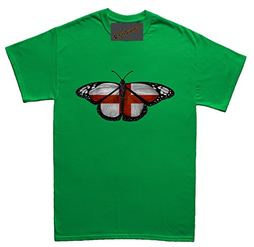 Renowned England Flag Inside Butterfly Wings Unisex - Kinder T Shirt Grün