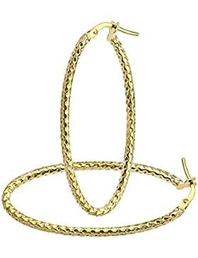 Citerna Damen Creole 9 Karat (375) Gelbgold Diamantschliff Groß Oval Ohrringe