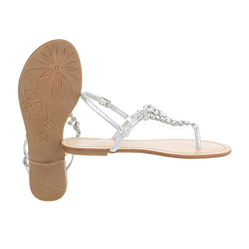 Zehentrenner Damenschuhe Peep-Toe Blockabsatz Zehentrenner Schnalle Ital-Design Sandalen / Sandaletten Silber N1175-5