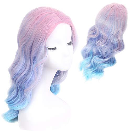 STfantasy blau lila Einhorn Ombre Perücke Pastell lang lockig für Frauen Fancy Kleid Sammler Lolita ()