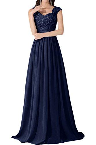 VICTORY Bridal simple pointe soir Vêtements longue mousseline de soirée StandART42Demoiselle d'Honneur neuf Tintenblau