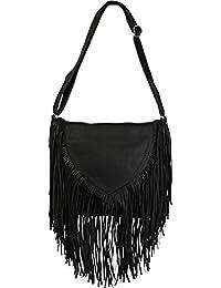 styleBREAKER Umhängetasche mit Fransen im Ethno Style, Schultertasche, Handtasche, Tasche, Damen 02012188