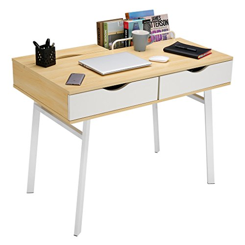 Langria grande scrivania moderna con 2 cassetti e 2 vani struttura resistente a 4 coppie metalliche tavolo da computer per uffici (legno naturale e bianco)