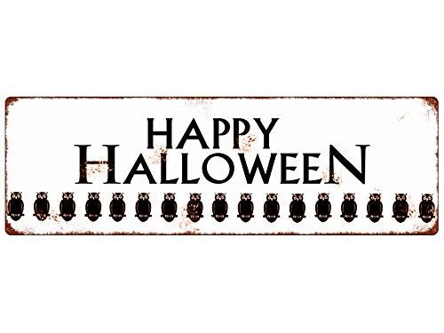 LD Shabby Vintage Blechschild HAPPY HALLOWEEN [*VIELE*EULEN] Geschenk Dekoration Gruselig (Happy Halloween-zitate-sprüche)