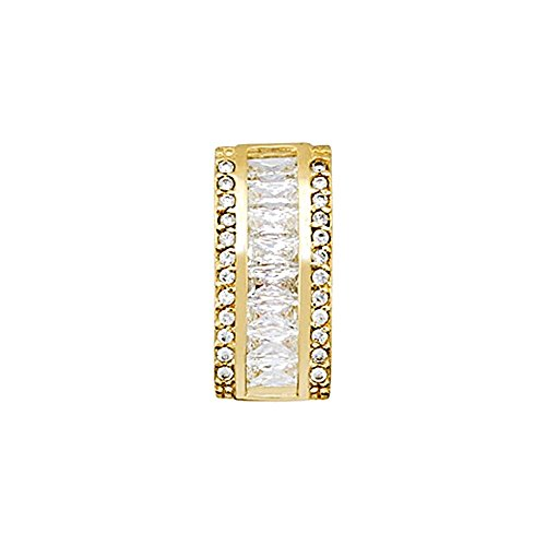18k Ciondolo in oro 4x2mm baguette zirconi. [AA4782]
