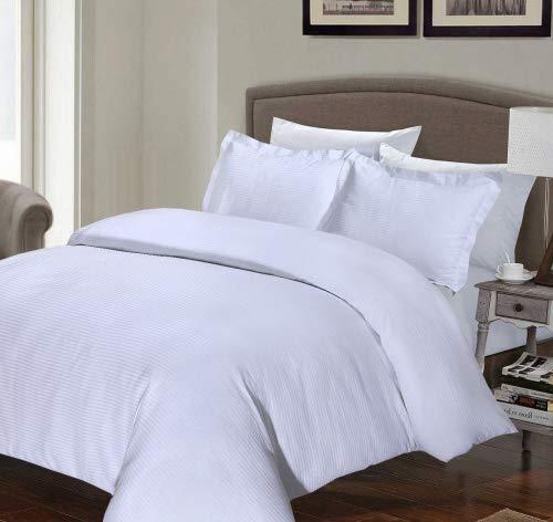 Le Vie Del Cotone Copripiumino.White Double White Cotton Rich Percale 200 Thread Count Satin Stripe Duvet Cover Set With Oxford Pillowcases Hotel Spec White Double