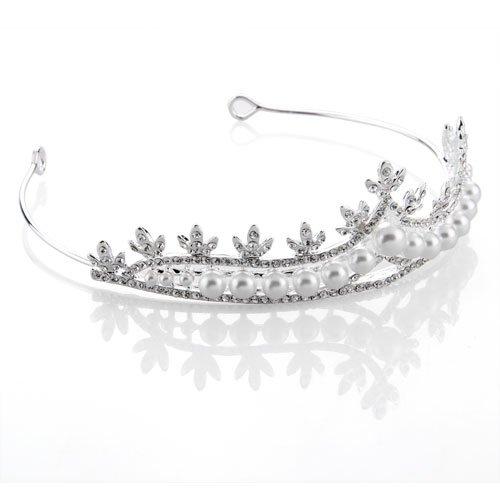 Ecloud Shop® Diadema bañado de plata circonita Brillo Corona Perla Novia Boda 135 x 40 mm