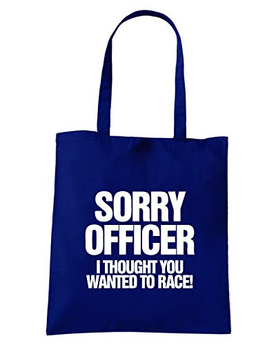 T-Shirtshock - Borsa Shopping TB0424 Sorry Officer I Thought You Wanted To Race Funny Car or Biker Blu Navy