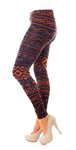 Damen Winter Strick Fleece Feinstrick Thermo Leggings Leggins Lang Gemustert Norweger Muster One Size Rostbraun Blau
