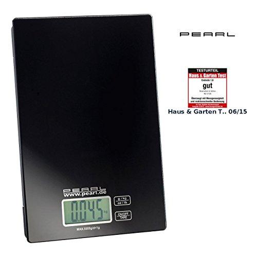 PEARL Briefwaage: Digitale Küchenwaage, bis 5 kg, LCD-Display, Touch-Sensor-Bedienung (Digitale Waage)