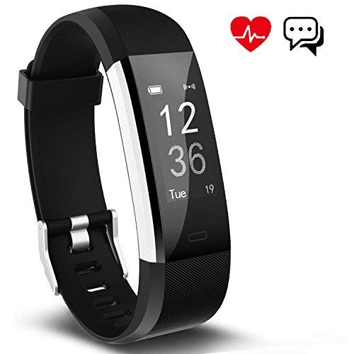 Fitness Tracker Aneken Aktivitätstracker Smart Uhr mit Schrittzähler Herzfrequenz Pulsmesser Kalorienzähler und Schlaf-Monitor Smart Watch Wasserdicht Anrufen/SMS Benacrichtigen (Schwarz)