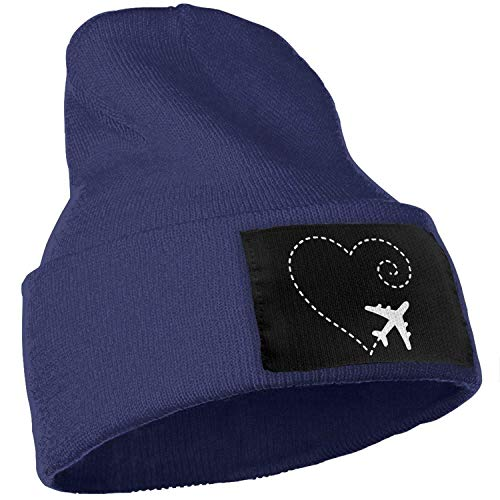 ingshihuainingxianruangangs Flugzeug zeichnen eine Herzform Unisex Skull Ski Cap Winter warme Dehnbare Strickmütze, OneSize, Navy