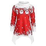 VEMOW Heißer Einzigartiges Design Mode Damen Frauen Frohe Weihnachten Schneeflocke Gedruckt Tops Cowl Neck Casual Sweatshirt Bluse(Y1-a-Rot, EU-36/CN-M)
