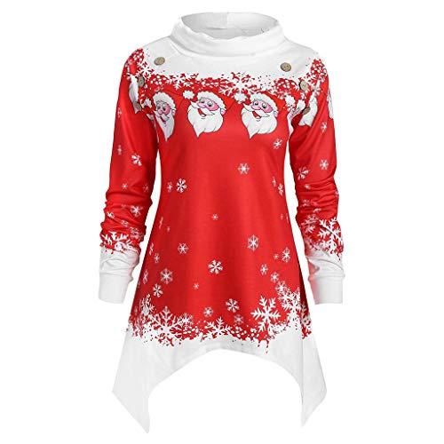VEMOW Heißer Einzigartiges Design Mode Damen Frauen Frohe Weihnachten Schneeflocke Gedruckt Tops Cowl Neck Casual Sweatshirt Bluse(Y1-a-Rot, EU-34/CN-S)
