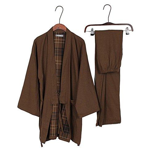 Männer japanischen Stil Robes Baumwolle Kimono Pyjamas Anzug Dressing Gown Set-# E (Japanische Kleidung Kimono)
