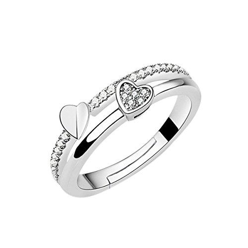 Leisial regalo femminile di anello di barretta del diamante della bocca di diamante della bocca di rame bianca pura (a)
