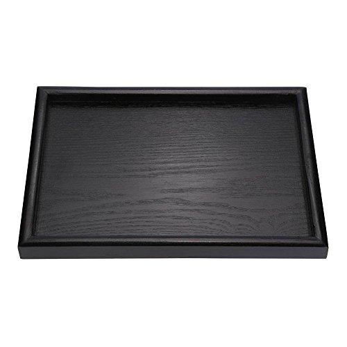 Serviertablett Nahrungsmittelschale Rechteck feste schwarze hölzerne Tee Kaffee Snack Food Mahlzeiten die Behälter Platte für Restaurant dienen(30 * 20 * 2cm)