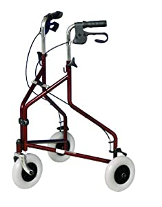 Ability Superstore Three Wheeled Steel Rollator Burgundy
