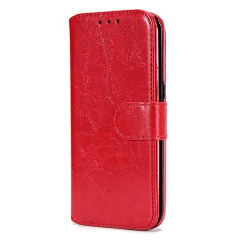 BCIT Samsung Galaxy S7 Edge Leder Handytasche - Geldbörse mit Kartenfach abnehmbar Magnet Handy Schutzhülle für Samsung Galaxy S7 Edge - Blau Rot
