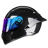 KeRuiLou Casco da Motociclista da Strada con Casco Integrale in Fibra di Carbonio Rainbow2 L