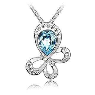 Daesar Schmuck Damenkette Vergoldet Schmetterling Synthetische Kristall Halskette Zirkonia Halskette Anhänger