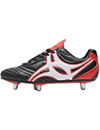 GILBERT Sidestep XV corte bajo Puntera dura 6Stud Botas de rugby junior– multicolor negro /rojo Talla:38 EU