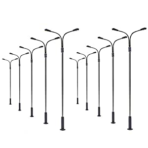 Evemodel LQS13 10 STK. Doppelpeitschenlampen LED 100mm Spur H0 / 00 Straßenlampe Flexible Höhe 3v 12v