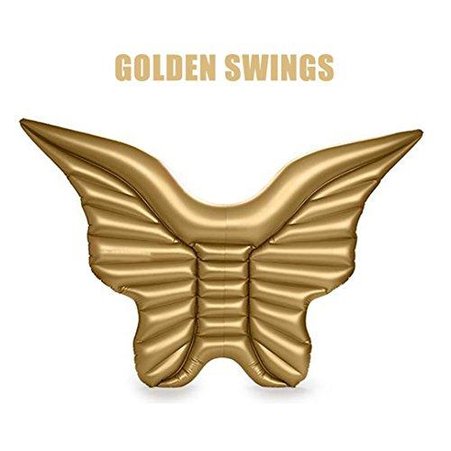 blasbare Angel Wings riesiger Pool Float Spielzeug Wasser schweben aufblasbare Matratze Schwimmen Ring Strand Meer Party Licht Gelb (Kleinkind Angel Wings)