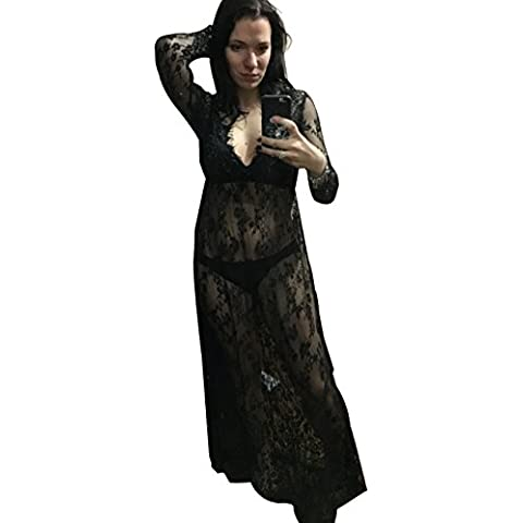 Sexy Deep V-Neck Long Sleeve Lace Beach Dress See-through Maxi Dress Plus size 4XL