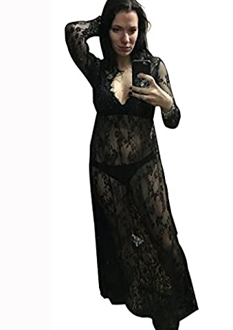 Sexy Deep V-Neck Long Sleeve Lace Beach Dress See-through Maxi