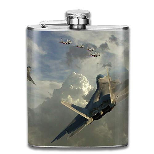 Stainless Steel Hip Flask 7 Oz (No Funnel) Dogfight Jet Fighter Full Printed